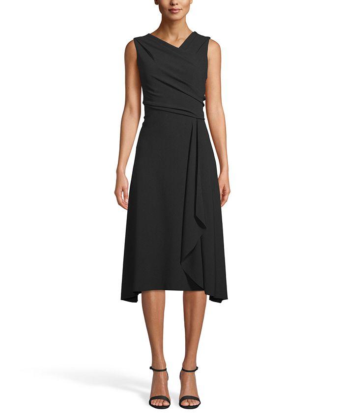 Anne Klein - Asymmetrical Drape-Front Dress
