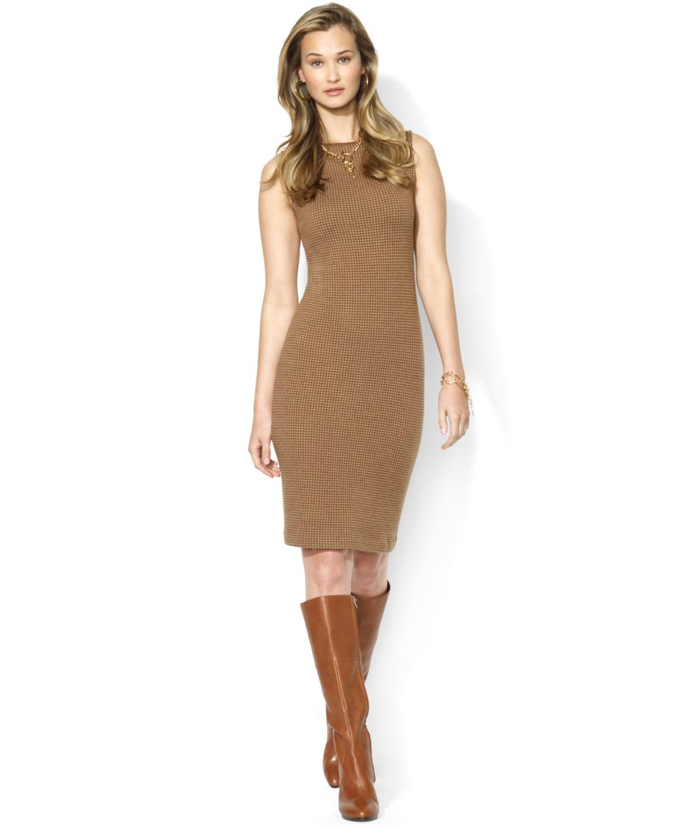 Lauren Ralph Lauren Sleeveless Leather Trim Dress Dresses Women on ... 2dddc4342