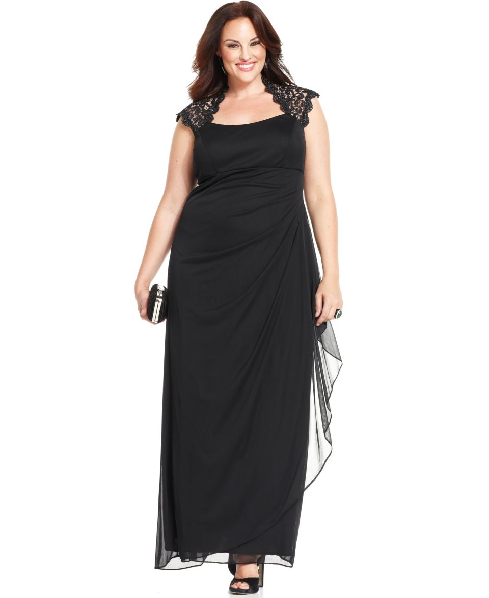 Jessica Howard Plus Size Dress, Short Split Sleeve Belted Sequin Lace