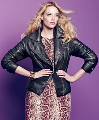 INC International Concepts Plus Size Jacket, Faux-Leather Motorcycle