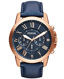 Fossil Grant Chronograph Navy Leather Watch 44mm
