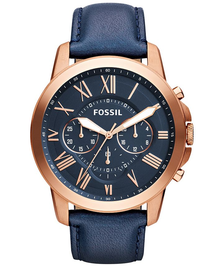 Fossil - Grant Chronograph Navy Leather Watch 44mm
