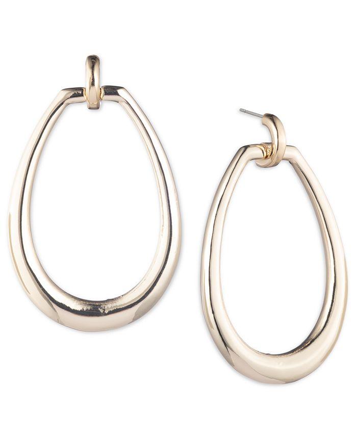 Lauren Ralph Lauren - Gold-Tone Oval Drop Hoop Earrings