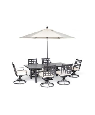 "Highland Outdoor 7-Pc. Dining Set (84"" x 42"" Dining Table and 6 Swivel Chairs) with Sunbrella® Cushions, Created for Macy's"