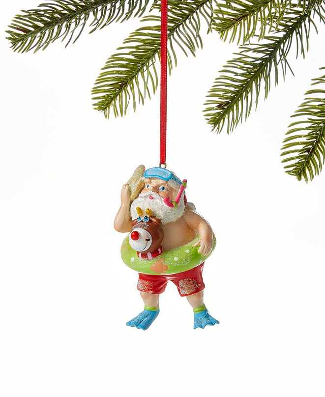 Holiday Lane At the Beach Snorkeling Santa Ornament, Created for Macy's