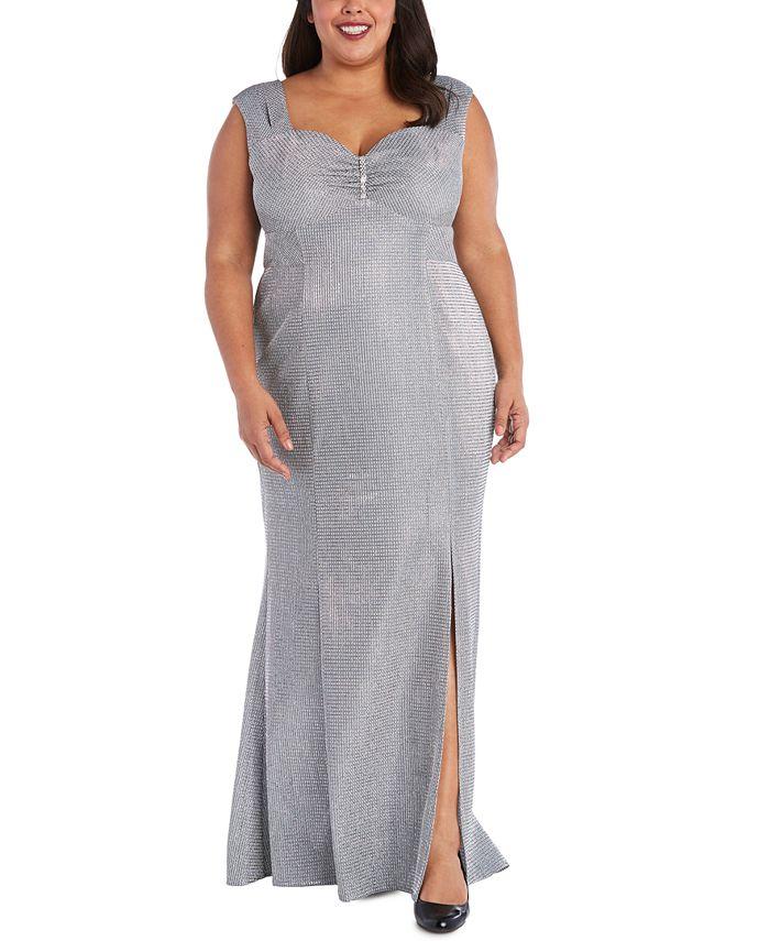 R & M Richards - Plus Size Sweetheart Metallic Gown
