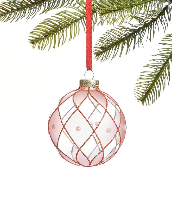 Holiday Lane Ballet Glass Ball with Pink Pattern and Imitation Pearl Accents Ornament, Created for Macy's