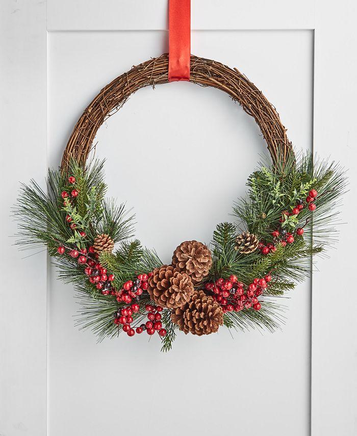 Martha Stewart Collection - Farmhouse Asymmetrical Rattan, Pine & Pinecone Wreath