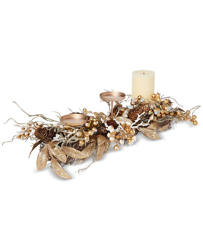 Martha Stewart Collection Gilded Age Metallic Berry & Branch Candle Holder Centerpiece, Created for Macy's