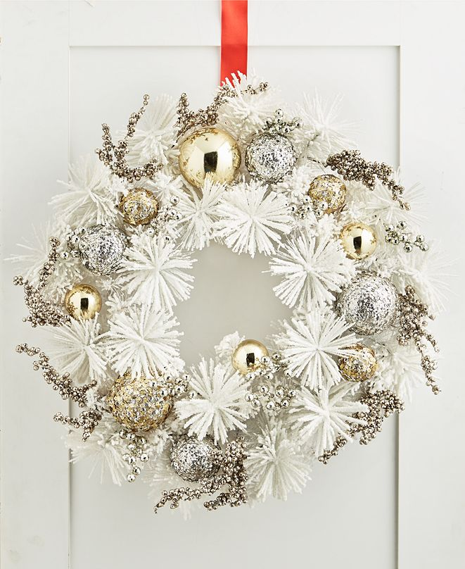 Holiday Lane Shine Bright White and Gold Wreath, Created for Macy's