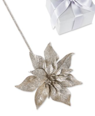 Shimmer and Light Glitter Flower Pick Ornament, Created for Macy's