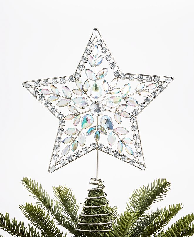 Holiday Lane Shimmer & Light Silver Star Topper, Created for Macy's