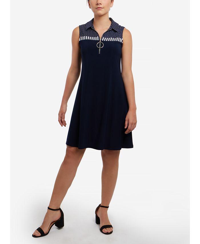 MSK - Polka-Dot Sleeveless Dress