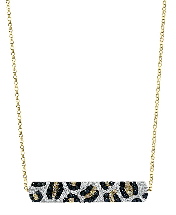 """EFFY Collection - Multi-Color Diamond 18"""" Bar Pendant Necklace (3/4 ct. t.w.) in 14k Gold"""