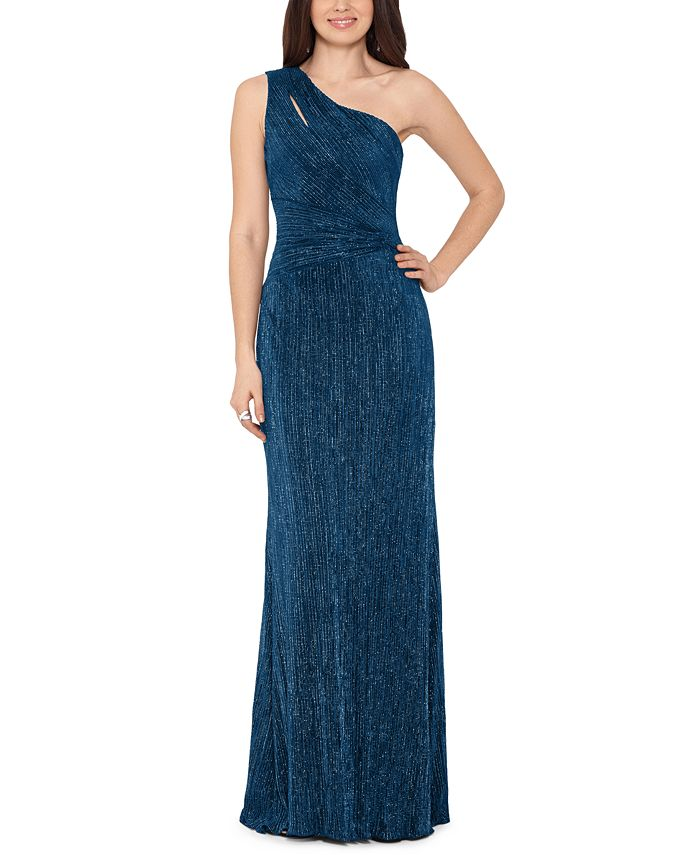 XSCAPE - One-Shoulder Glitter Gown