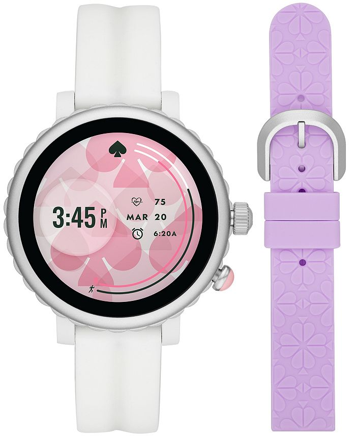 kate spade new york - Women's Sport Scalloped White Silicone Strap Touchscreen Smart Watch 41mm