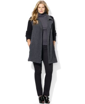 Lauren Ralph Lauren Plus Size Asymmetrical-Zip Colorblocked Coat