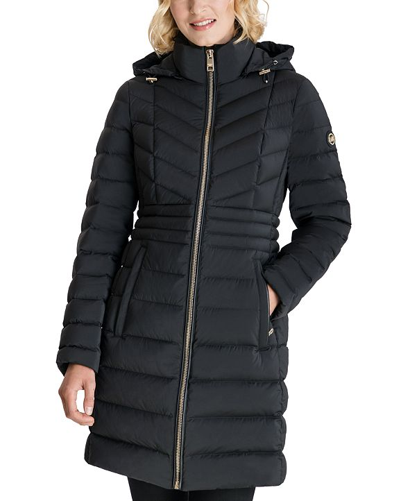 Michael Kors Hooded Stretch Packable Water-Resistant Down Puffer Coat, Created for Macy's