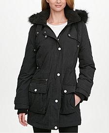 DKNY Faux-Fur Trim Hooded Water-Resistant Anorak Coat