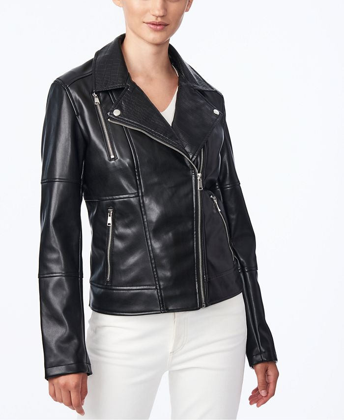 Collection B - Juniors' Faux-Leather Moto Jacket