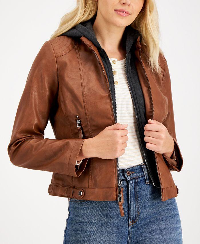 Maralyn & Me - Juniors' Faux-Leather Hoodie Jacket