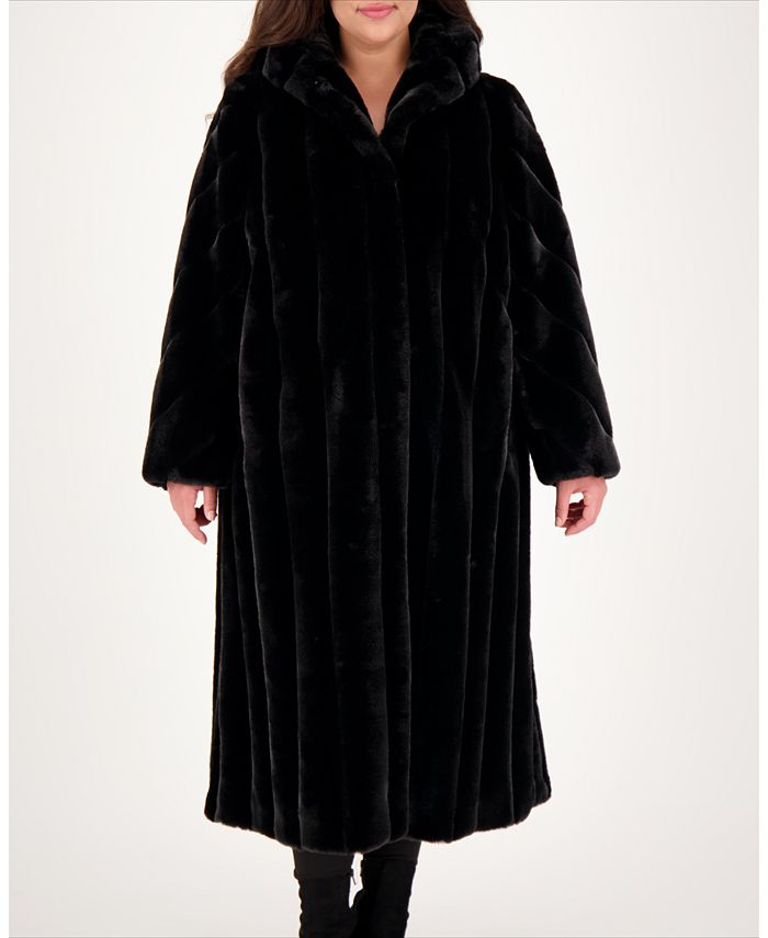 Jones New York - Plus Size Hooded Faux-Fur Maxi Coat