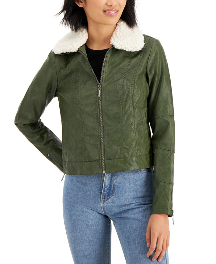 Jou Jou - Juniors' Faux-Fur Collar Faux-Leather Jacket