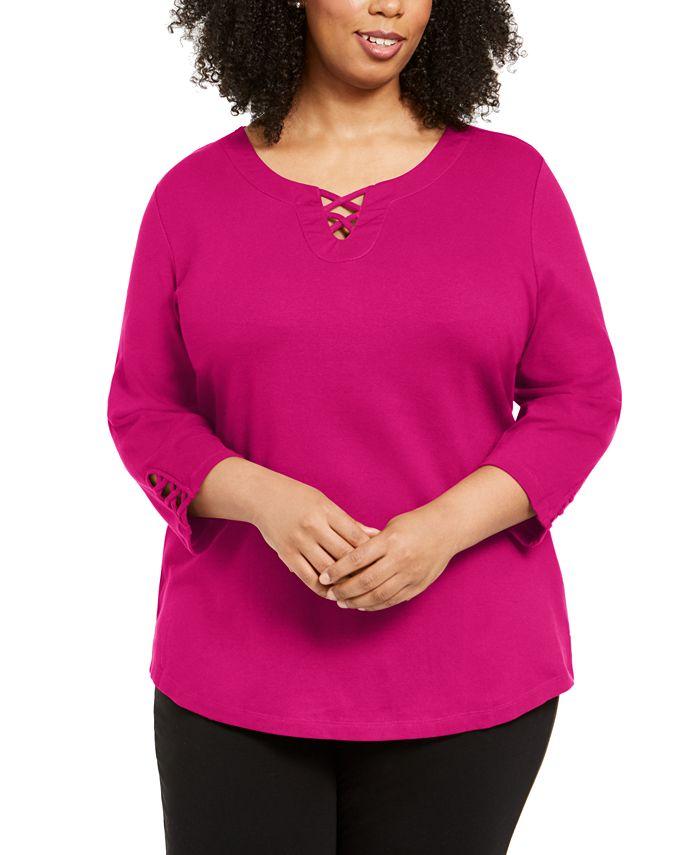 Karen Scott - Plus Size Cotton Crisscross Top