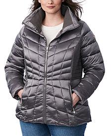 Bernardo Plus Size Packable Water-Resistant Puffer Coat