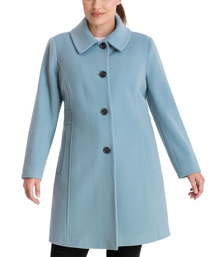 Anne Klein - Plus Size Single-Breasted Club-Collar Coat
