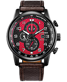 Citizen Eco-Drive Men's Chronograph Deadpool Brown Leather Strap Watch 45mm