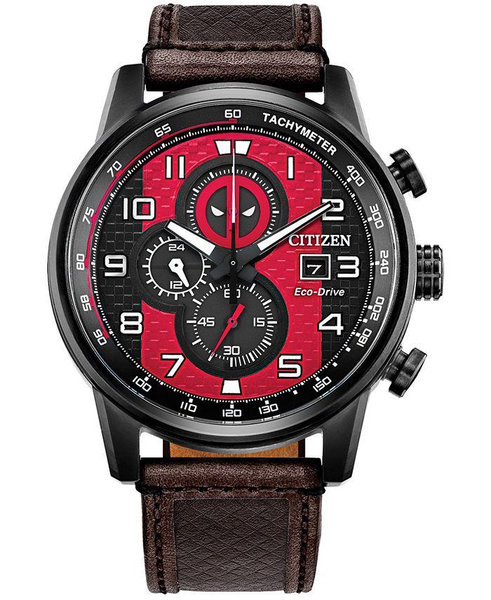Citizen - Men's Chronograph Deadpool Brown Leather Strap Watch 45mm