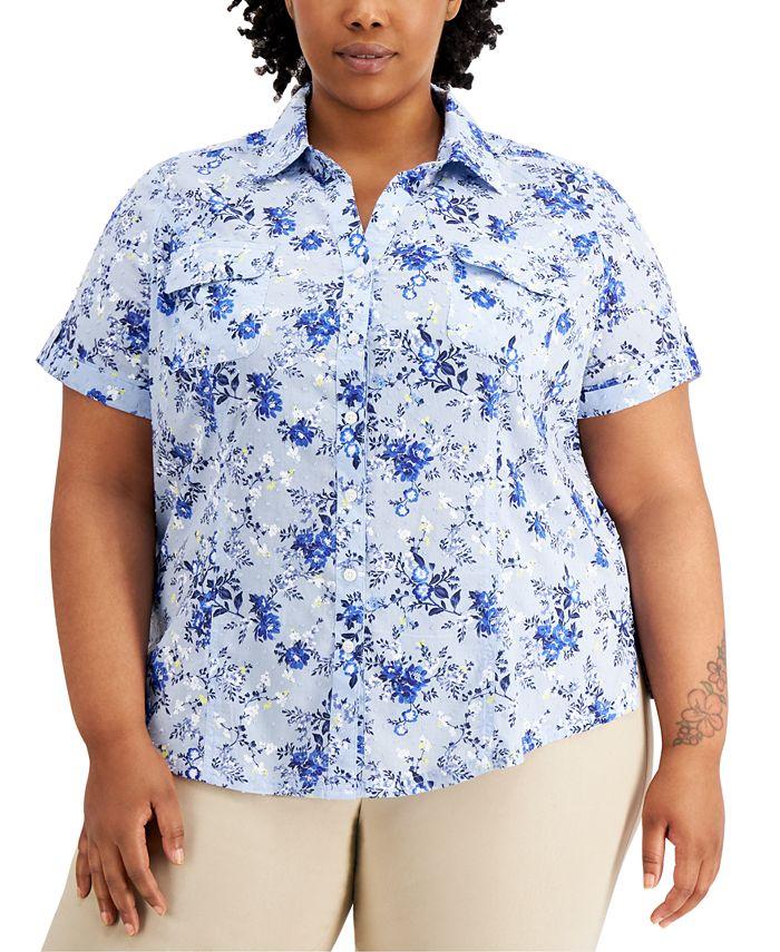 Karen Scott - Plus Size Tuscan Garden Cotton Shirt