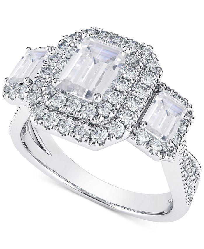 Macy's - Diamond Three Stone Halo Engagement Ring (2 ct. t.w.) in 14k White & Yellow Gold