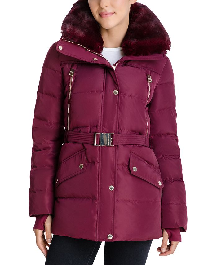 Michael Kors - Belted Faux-Fur-Trim Hooded Down Puffer Coat