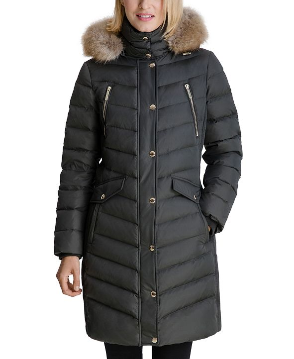 Michael Kors Faux-Fur Trim Hooded Down Coat, Created for Macy's