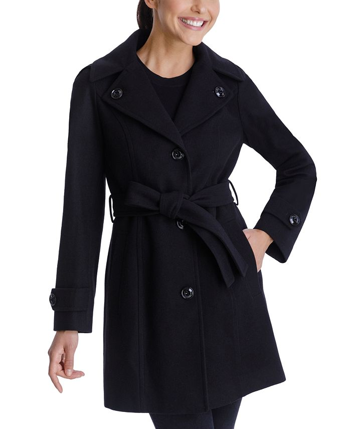 London Fog - Single-Breasted Belted Hooded Coat