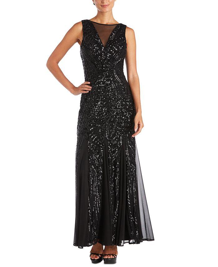 Nightway - Petite Allover-Sequin Gown