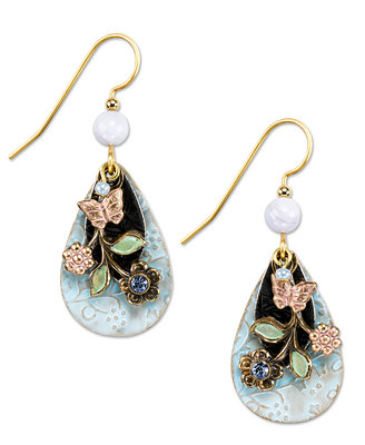 silver forest earrings gold tone floral charm drop