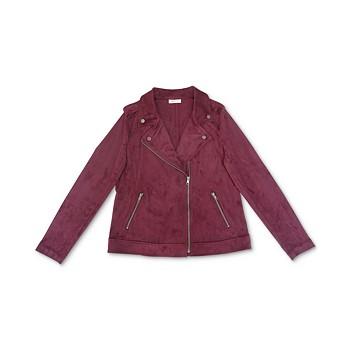 Style & Co Petite Faux-Suede Moto Jacket