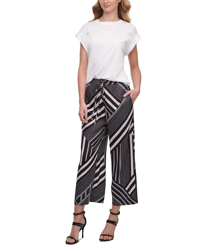 DKNY - Printed Pull-On Culotte Pants