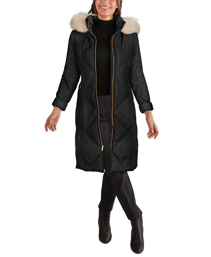 Cole Haan - Faux-Fur-Trim Hooded Down Puffer Coat