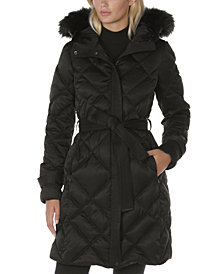 Laundry by Shelli Segal Belted Faux-Fur-Trim Hooded Puffer Coat