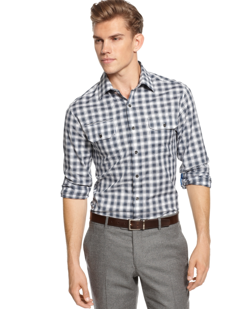 Vince Camuto Long Sleeve Slim Fit Plaid Dress Shirt   Casual Button Down Shirts   Men