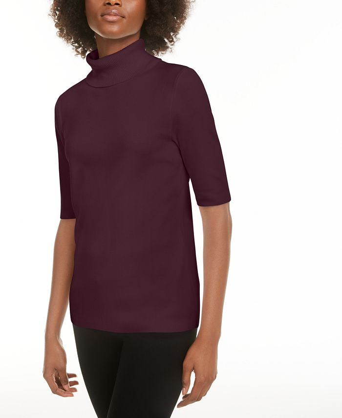 Alfani - Elbow-Sleeve Turtleneck Sweater