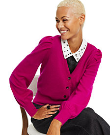 Charter Club Cashmere Balloon-Sleeve Cardigan, Created For Macy's
