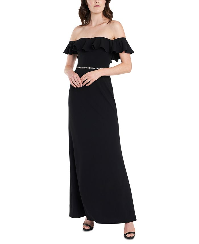 MSK - Ruffled Off-The-Shoulder Gown