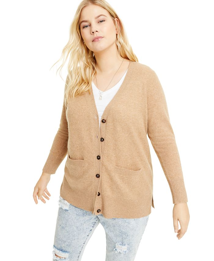 Charter Club - Plus Size Cashmere Boyfriend Cardigan Sweater