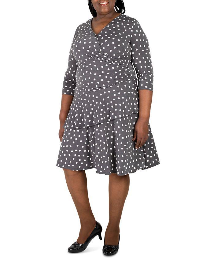 Robbie Bee - Plus Size Polka-Dot Ruffled Wrap Dress