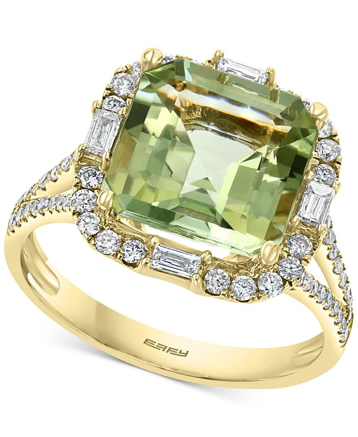 EFFY Collection - Green Quartz (3-7/8 ct. t.w.) & Diamond (1/2 ct. t.w.) Ring in 14k Gold
